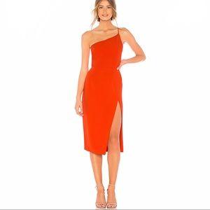Lazo midi straps orange dress, NBD, cocktail, part